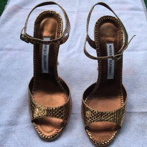 ❣️Manolo Blahnik❣️Metallic Snake print Sandals